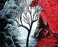 Huihuart 番号によるDIY着色絵画 火山絵ホームデコレーションdiy手描きの油絵アクリル顔料着色による数字キャンバス絵画 40x50cm