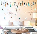 綺麗なカラー羽根♪おしゃれで可愛い壁用ウォールステッカー ウォールステッカー