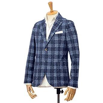 [CIRCOLO 1901【チルコロ】]タータンチェック ジャージージャケット ACU223516 BLU コットン ブルー(46)
