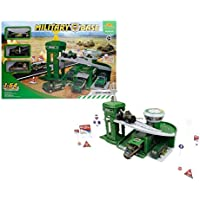 Army Defence Military Base with a watchtower, a ramp and army solider vehicles toy gift set