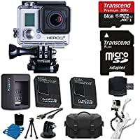 GGoPro HERO3+ Silver Edition Camera HD Camcorder + Extra GoPro Rechargeable Battery GoPro Dual Battery Charge + 6 FT HDMI Cable + Gripster III Flexible With 64GB MicroSDXC Class10 And Much More Complete Deluxe Accessory Bundle [並行輸入品]