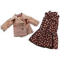Dovewill かわいい 花柄  ノースリーブ  ドレス & コート  服  12インチ ブライス人形対応  全2色 - 2
