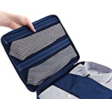 ワイシャツケース ワイシャツ収納袋 出張 旅行 整理用襟つぶれ シワ防止 ネックポーチ付き 軽量 ダックブルー MumanS