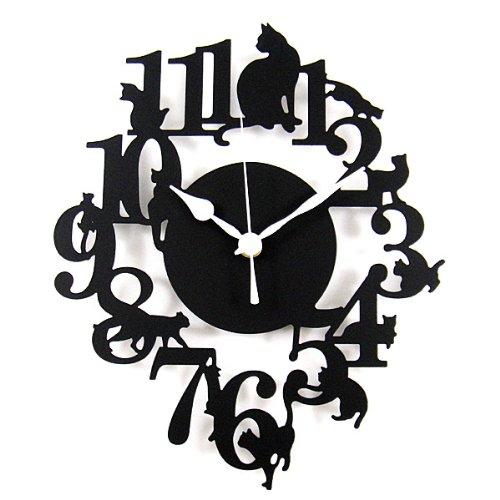 黒猫 シルエット 掛け時計 安心の日本製ムーブメント ブラック ギフトラッピング対応可