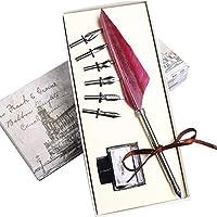 Hethrone書く羽ペンディップペン書道ペンセット用6ステンレス鋼ペン先とインク用文房具ギフトPA-47