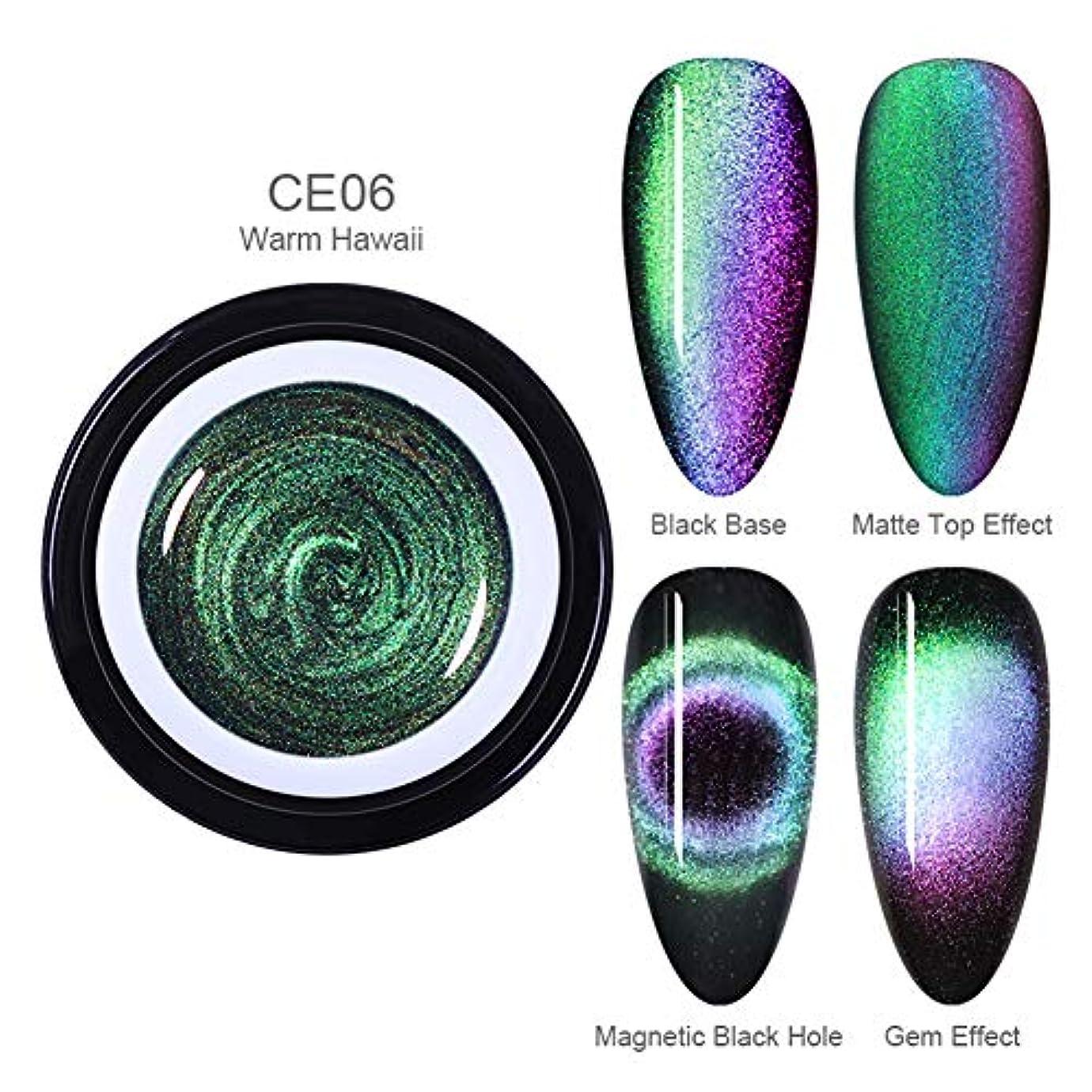 枯れる騙す誤解させるBORN PRETTY 9Dキャッツアイジェルカラー 磁石で模様が変わる 6ml 6色選択可 UV/LED対応 ジェルネイルアート (BP-CE06 Warm Hawaii)