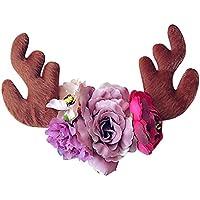 Tovadoo ヘアバンド 子供用 女の子 クリスマスシリーズ 鹿の角 花 プリンセス髪飾り 6色 キュート おしゃれ パーティー ダンス イベント用 0.5-3歳