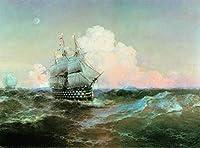 手書き-キャンバスの油絵 - 美術大学の先生直筆 - Ivan Aivazovsky ship twelve apostles シービューペインティング RSSP1 絵画 洋画 複製画 -サイズ15