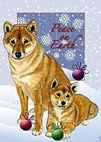 柴犬クリスマスカード: 10Holiday Cards withレッド封筒–Adorable 。