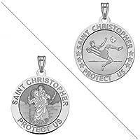 Soccer–Saint Christopher doubledsideスポーツReligiousメダル1インチスターリングシルバー