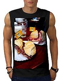 Wellcoda サンドイッチ お肉 写真 フード 男性用 S-5XL 袖なしTシャツ