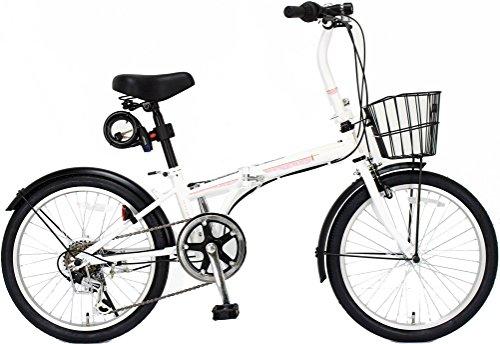 ジェフリーズ 自転車 折りたたみ自転車 20インチ AMADEUS マットホワイト サクラ シマノ6段変速 前後泥除け/カゴ/LEDライト/ワイヤーロック標準装備