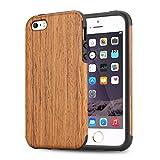 TENDLIN iPhone SE ケース 自然木製柔軟TPUシリコン配合保護ケース(サントスローズウッド)