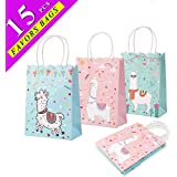 Wmbetter 15Pcs Llama Party Supplies Tote Gift Bags, Llama Party Favor Bags for Birthday Baby Shower Party Decorations (Pink, Blue, Mint Green)