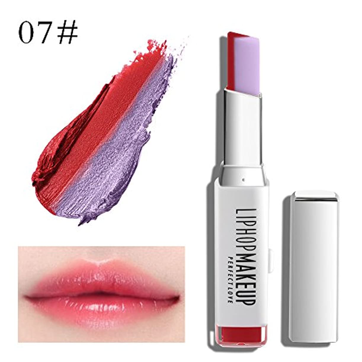 パーツスカート木製1 PC Popular Waterproof Women Multicolor New Two Tone Lipstick #7