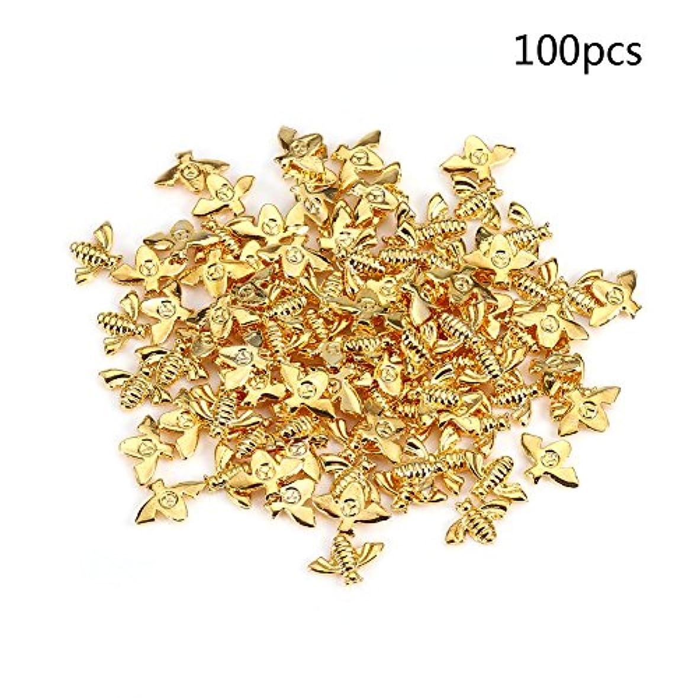 苦行持続的ようこそメタルネイルデコレーション 2色100pcs / bag金属蜂3Dネイルデコレーションメタルスティックゴールドシルバーネイルデカールマニキュア (ゴールド)