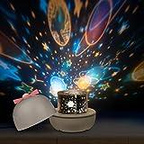 「2019年最新版」スタープロジェクターライト 星空投影ライト ベッドサイドランプ 寝室電気スタンド 6セット投影映画フィルム 4色ライト 360度回転 音楽モード付 ロマンチック雰囲気作り USB充電式 彼女と子供 お誕生日プレゼント
