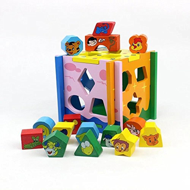Kayiyasu カイヤス 子ども おままごと 積み木 ゲーム 組み立てる どうぶつ 木製 知育玩具 子どもおもちゃ カラフル 教育 021-lzgy-d7956(15.5*15.5*14.5cm 約900g )