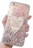 (ポルトプエルト) iPhone 7/7 Plus ケース カバー スパンコール ラメ ハート ハード TPU 透明 クリア パープル ピンク グリーン ホワイト 液体 スノードーム アイフォン ( iPhone 6/6 Plus/6s/6s Plus ) (iPhone 6/6s, ピンク)