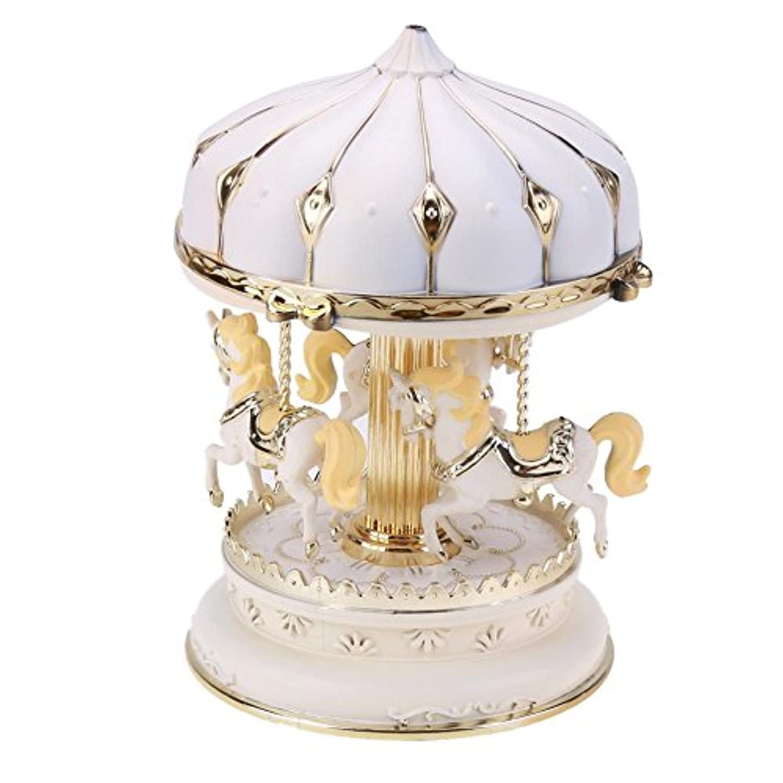 Hillrong オルゴール 誕生日プレゼント 子供 音楽箱 木馬 時計仕掛け 回転する 発光する アイデア ロマンチック (A)