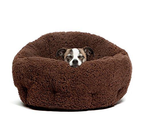 洗える ペット用 ベッド / クッション 小型犬 猫 ふわモコ 伸縮性に富んだ暖かいベッド (茶色)