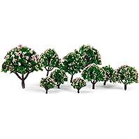 【ノーブランド品】樹木 木 モデルツリー 花付 10本セット 高さ3-8cm 4色 鉄道模型 ジオラマ (No.1)