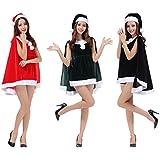 (チャーミングクルー) Charming Crew セクシー マント付き サンタ コスチューム 3点セット ミニスカワンピース + ホットパンツ + サンタ帽子 コスプレ レディース フリーサイズ ゆるかわ 衣装 選べる3色 (グリーン)
