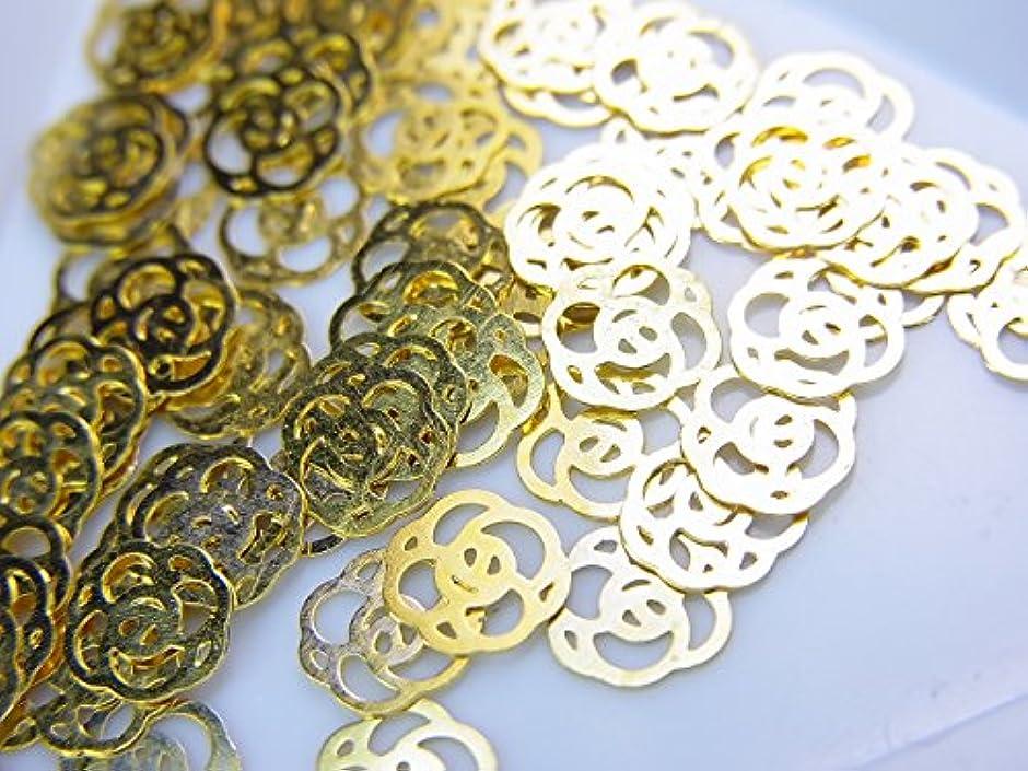 結婚共同選択小道【jewel】薄型ネイルパーツ ゴールドローズ10個