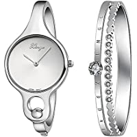 Xinge Women's Round Silver Bangle Watches and Stainless Steel Bracelet Set with Crystals W3678-S