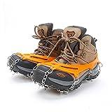 靴底用滑り止め ,QUNQI 10本爪 アイゼン ステンレス製 スノースパイク スノーチェーン 転倒防止 雪山 登山 釣り トレッキングなどに 男女兼用 収納袋付き(オレンジ) (オレンジ)