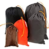 Prettyia Compression Stuff Sack Water Resistant Polyester Great Sleeping Bags Clothes Camping Hiking Backpacking, 5 Pack