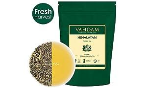 ヒマラヤ山脈からのオーガニック緑茶の葉(50カップ)、100%天然デトックス、減量 & スリミングティ、緑茶ルーズリーフ、最高品質のインドティ、3.53oz