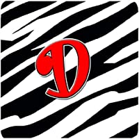 "Caroline 's Treasures cj1024-dfc monogram-zebraレッドFoam Coasters ( Set of 4 )、初期文字D、3.5 "" H x 3.5 "" W、マルチカラー"