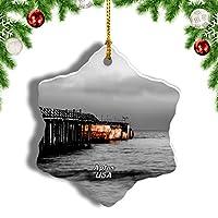 Weekinoアメリカアメリカビーチアプトスクリスマスオーナメントクリスマスツリーペンダントデコレーション旅行お土産コレクション陶器両面デザイン3インチ