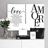 kldfig 北欧スタイルの愛のポスター黒と白のキャンバス絵画アモーレ壁写真用リビングルーム北欧装飾ホームアート-50 * 70センチ-非フレーム-2ピース