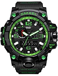 メンズ運動腕時計 メンズウォッチ SMAELスポーツ時計 おしゃれメンズ時計 防水腕時計 人気5色 (グリーン)