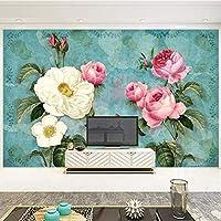 Lcymt ヨーロッパスタイルの3Dステレオ花写真壁画壁紙リビングルームテレビソファ結婚式の家の背景壁絵画家の装飾-250X175Cm