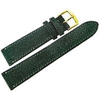 Fluco 18mmダークグリーンスエードレザーゴールドバックル腕時計ストラップ