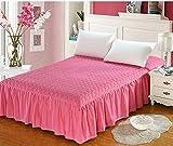 Dewel 高級ベッドスプレッド(ベッドカバー) キルト コットン エレガント 無地 毛玉寄りにくい 愛心型 可愛い  (ピンク, セミダブル)