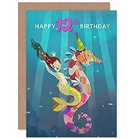 Mermaid Seahorse Birthday 12th Greetings Card マーメイド