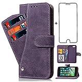 iPhone8 ケース 手帳型,iPhone7 ケース,レザー 財布型カバー + 强化 ガラスフィルム 収納スタンド機能付カード携帯けーす耐汚れ 耐衝撃 人気 防塵 Qi充電対応 (iPhone 7/8/7S/8S パープル)