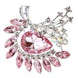 【ノーブランド品】水晶 花のブローチ ドロップ モザイク ラインストーン ブローチピン 女性の宝石 ピンク