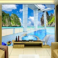Lixiaoer カスタム写真壁紙3D壁画壁画壁紙リビングルームバルコニースイミングプール海の景色ポスター壁画3D-280X200Cm