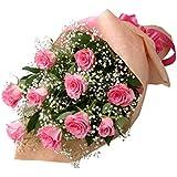 誕生日バラ 花キューピットのピンクバラの花束
