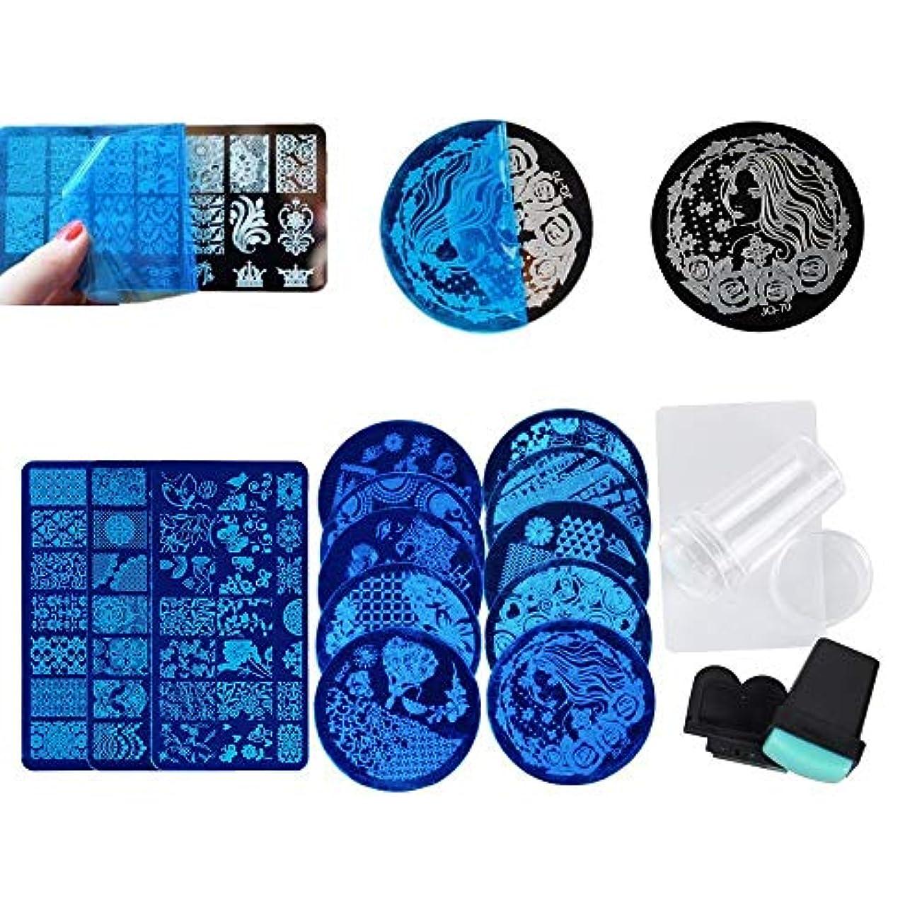 百年石膏面Decdeal スタンピングセット13枚 2ネイルスタンプ セット ネイルスタンパー 花模様 ランダムパターン