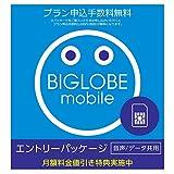 ビッグローブ BIGLOBEモバイル エントリーパッケージ 月額値引き特典&キャッシュバック[音声通話3ギガ以上] SIMカード申し込み用(ドコモ回線) データ通信/音声通話