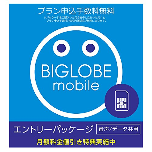 BIGLOBEモバイル エントリーパッケージ 特典で3GB月...