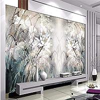 Wuyyii 蓮の背景油絵抽象線ホテルの寝室のリビングルームの家の装飾の壁紙-280X200Cm