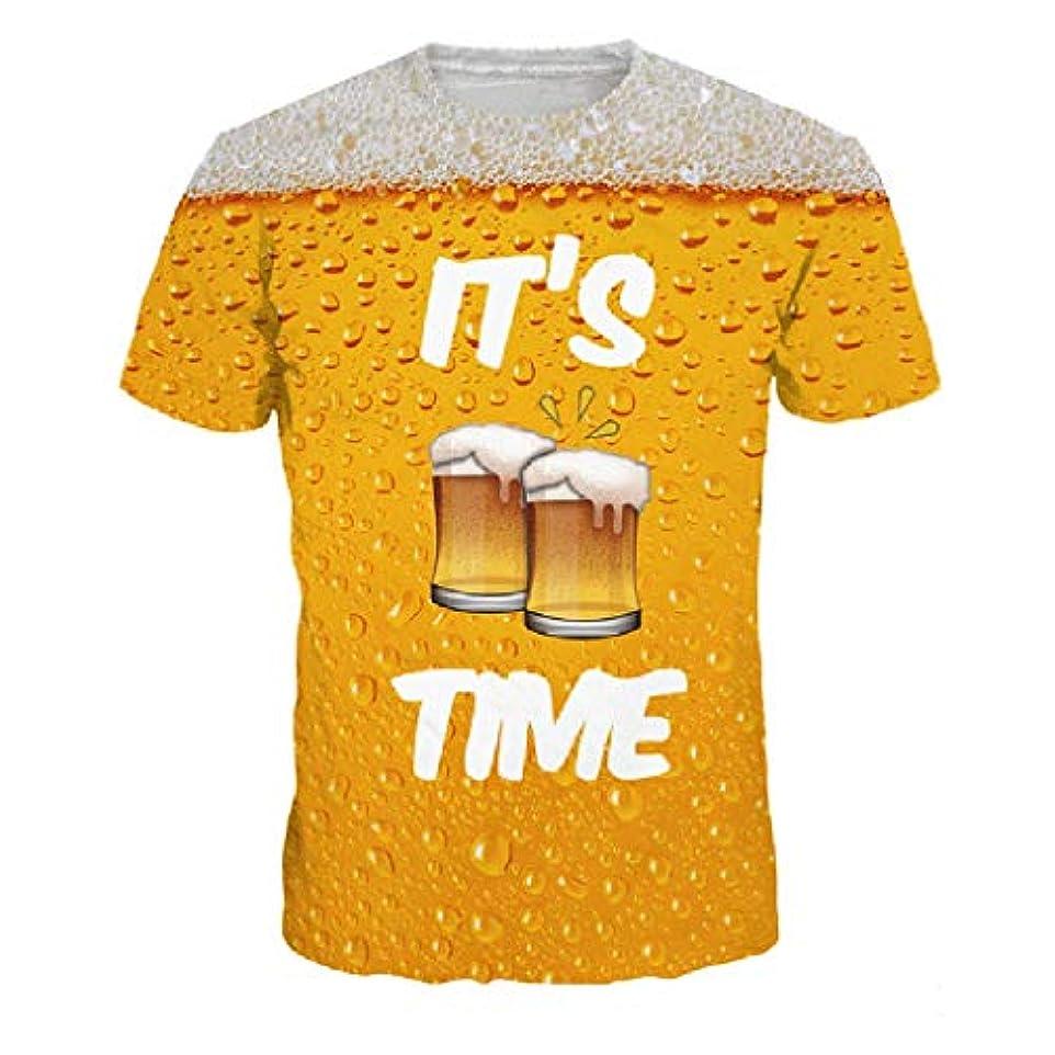 知覚果てしない性格Racazing 春夏 Tシャツ 大きいサイズ メンズ 薄手 Tシャツ アンダーシャツ 3D ビールの泡柄 メンズ プリント 吸汗速乾 ブラウス 快適 半袖トップス ファッション 通勤 通学 プリント T-shirt for men