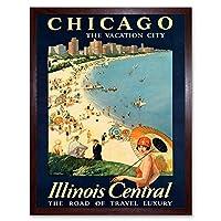 Travel Tourism Chicago Illinois USA Beach Lake City Art Print Framed Poster Wall Decor 12X16 Inch 旅行観光シカゴアメリカ合衆国ビーチ湖シティポスター壁デコ